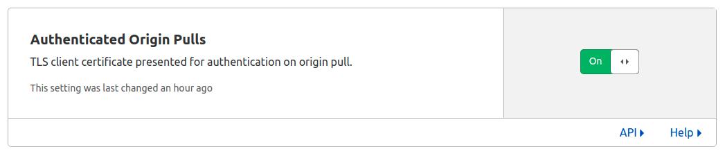 Opção Ahtenticated Origin Pulls com botão para ativar.