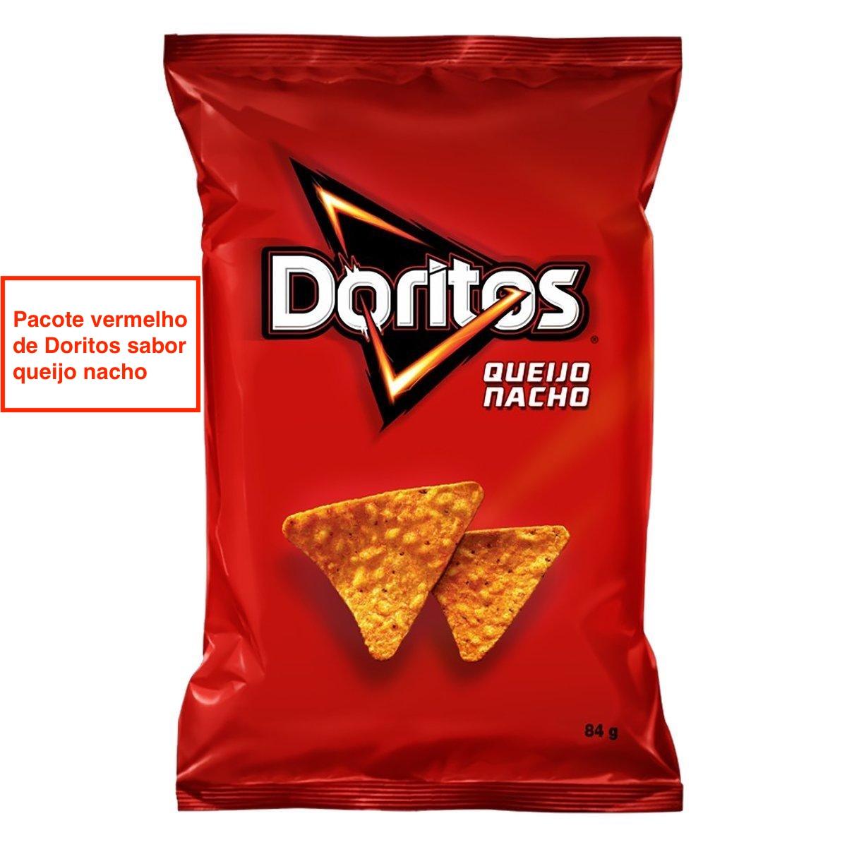 pacote vermelho de doritos sabor queijo nacho